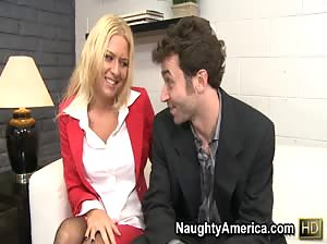 Riley Evans comes in for a job, but she winds up giving a job, and her tight hole, to the boss.