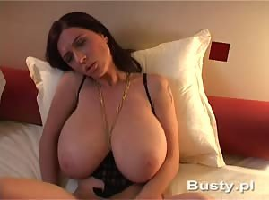 Super busty Anya Zenkova plays with her gigantic natural tits - Part 2